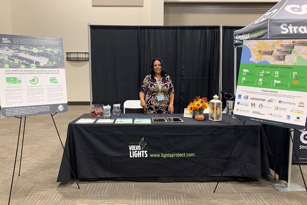 The team at Reach Out, a community-based organization, staffed a Volvo LIGHTS information booth at the Alt Car Expo on October 16, 2019, in Riverside, California.
