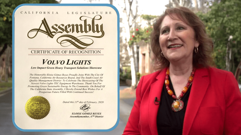 Image of Assemblymember Eloise Gomez Reyes and the California Legislature Assembly Certificate of Recognition awarded to the Volvo LIGHTS project team.
