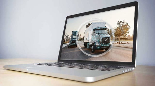 Image of Volvo BEV truck shown on a laptop screen.
