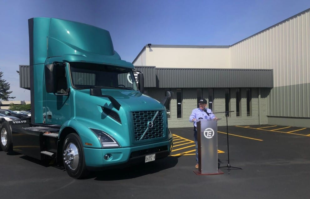 Congressman Peter DeFazio highlights clean energy priorities in President Biden's American Jobs Plan and federal infrastructure bill while taking a spin in an electric semi-truck